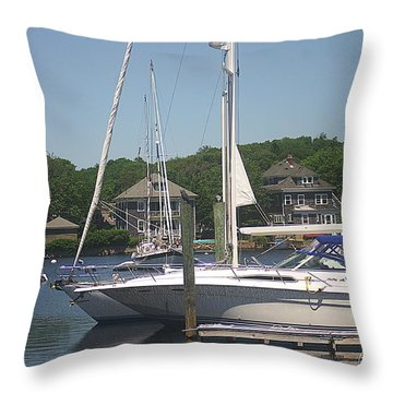 Throw Pillow featuring the photograph Marina At Woods Hole Ma by Suzanne Powers
