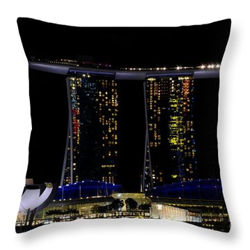 Marina Bay Sands Integrated Resort Hotel And Casino And Artscience Museum Singapore Marina Bay Throw Pillow by Imran Ahmed