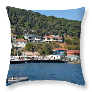 Throw Pillow featuring the photograph Marina Bay Scene With Boat And Houses On Hills by Imran Ahmed