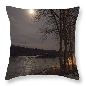 Throw Pillow featuring the photograph Marina By Moonlight by Tom Singleton