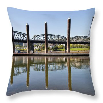 Throw Pillow featuring the photograph Marina By Willamette River In Portland Oregon by JPLDesigns