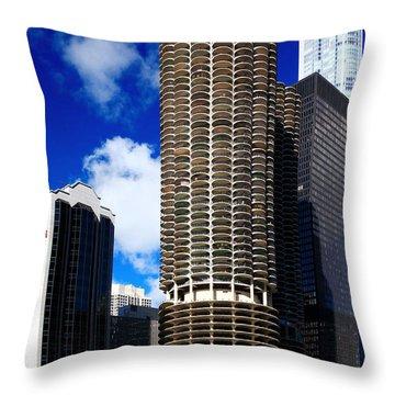 Marina City Corncob Tower Throw Pillow
