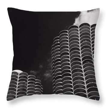 Marina City Morning B W Throw Pillow by Steve Gadomski