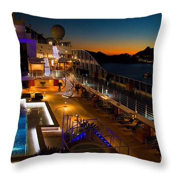 Marina Cruise Ship Pool Deck At Dusk Throw Pillow by David Smith