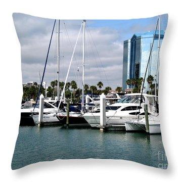 Marina In Sarasota Throw Pillow by Oksana Semenchenko