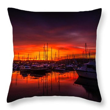 Marina Sunset Throw Pillow by Dawn OConnor