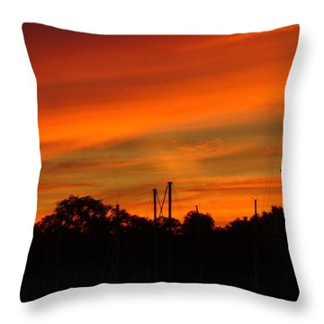 Throw Pillow featuring the photograph Marina Sunset by Deena Stoddard