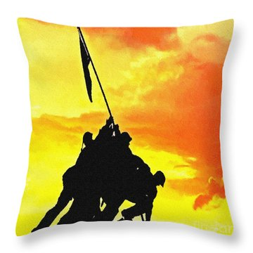 Marine Iwo Jima Memorial Dc Throw Pillow by Bob and Nadine Johnston