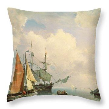 Marine  Throw Pillow by Johannes Hermanus Koekkoek