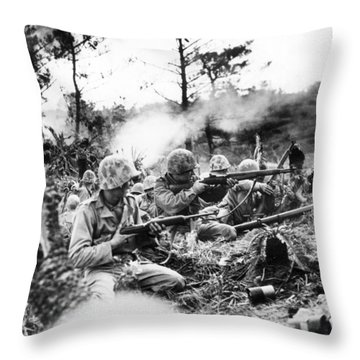 Marines In Okinawa Throw Pillow