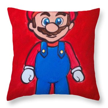 Mario Throw Pillow by Marisela Mungia