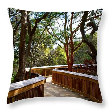 Maritime Forest Boardwalk Throw Pillow by Kathryn Meyer