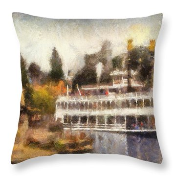 Mark Twain Riverboat Frontierland Disneyland Photo Art 02 Throw Pillow by Thomas Woolworth