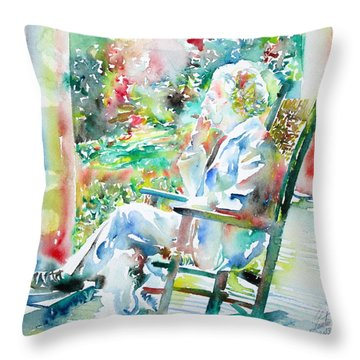Mark Twain Sitting And Smoking A Cigar - Watercolor Portrait Throw Pillow by Fabrizio Cassetta