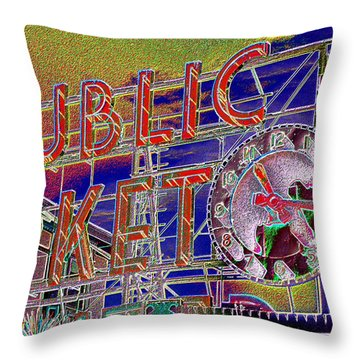 Market Clock 1 Throw Pillow by Tim Allen