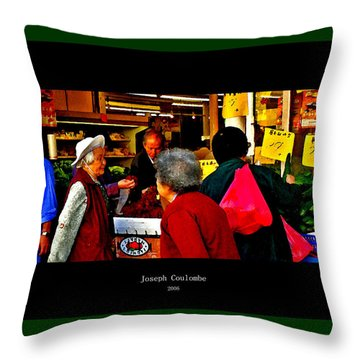 Market Day In Chinatown  Throw Pillow by Joseph Coulombe