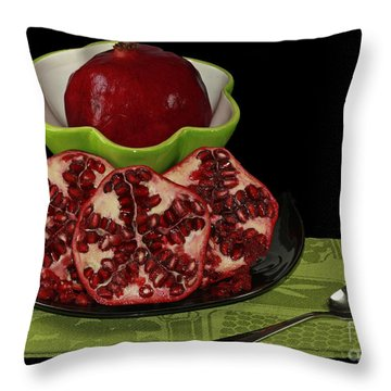 Market Fresh Pomegranate Fruit Throw Pillow by Inspired Nature Photography Fine Art Photography