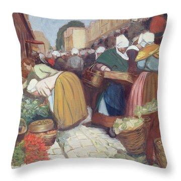 Market In Brest Throw Pillow by Fernand Piet