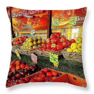 Throw Pillow featuring the photograph Apples And Plums In Red - Outdoor Markets Of New York City by Miriam Danar