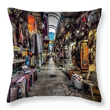 Market In The Old City Of Jerusalem Throw Pillow