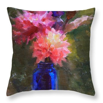 Market Melody - Dahlias And Cattails Throw Pillow