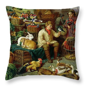 Market Scene Throw Pillow