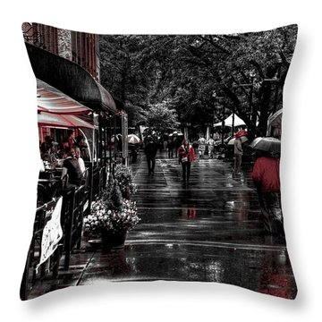 Market Square Shoppers - Knoxville Tennessee Throw Pillow by David Patterson