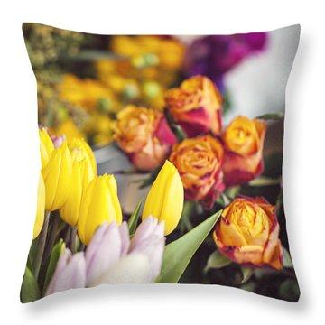 Market Tulips - Paris, France Throw Pillow