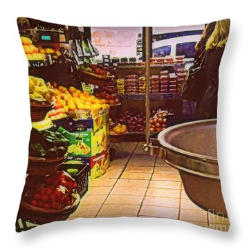 Throw Pillow featuring the photograph Market With Bronze Scale by Miriam Danar