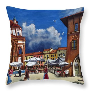 Marketplace Throw Pillow by William Cain