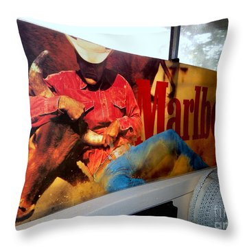 Marlboro Man Throw Pillow by Ed Weidman