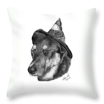 Marlee In Witch's Hat -021 Throw Pillow by Abbey Noelle
