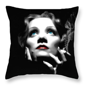 Marlene Dietrich Portrait Throw Pillow