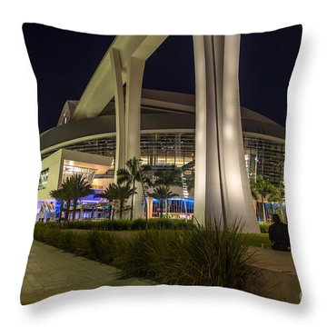 Marlins Park Stadium Miami 3 Throw Pillow by Rene Triay Photography