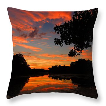 Marlu Lake At Sunset Throw Pillow by Raymond Salani III
