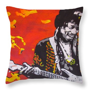 Throw Pillow featuring the painting Marmalade Skies by Eric Dee