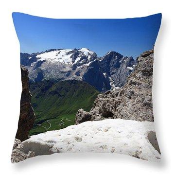 Throw Pillow featuring the photograph Marmolada From Saas Pordoi by Antonio Scarpi