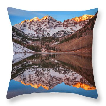 Maroon Bells Alpenglow Throw Pillow