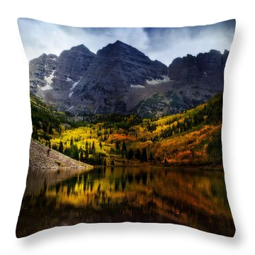 Throw Pillow featuring the photograph Maroon Bells - An American Icon by Ellen Heaverlo
