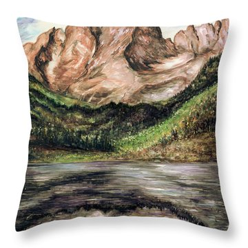 Maroon Bells Colorado - Landscape Painting Throw Pillow