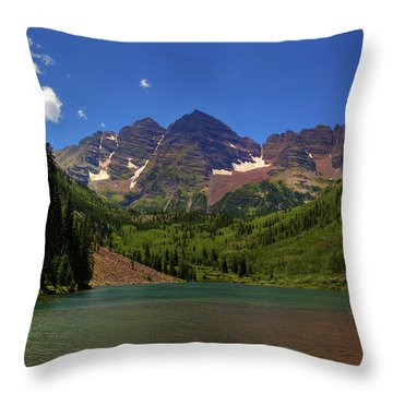Throw Pillow featuring the photograph Maroon Bells From Maroon Lake by Alan Vance Ley