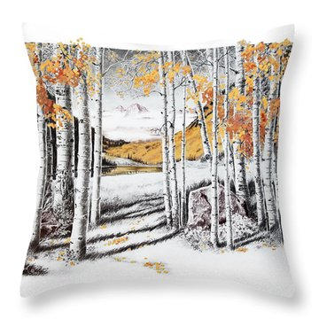 Maroon Bells Gold Throw Pillow