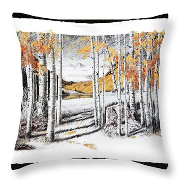Maroon Bells Gold With Border Throw Pillow