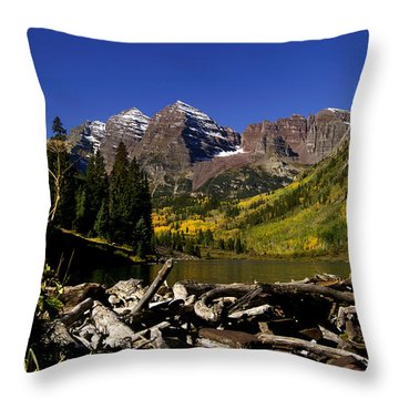 Throw Pillow featuring the photograph Maroon Bells by Jeremy Rhoades