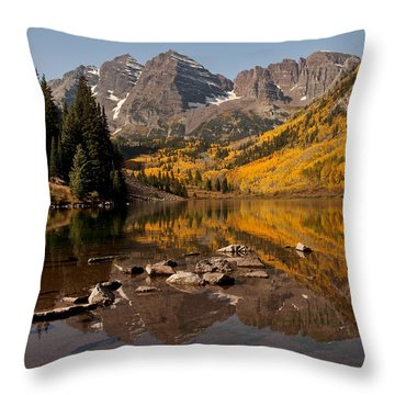 Maroon Bells Reflection Throw Pillow by Lee Kirchhevel