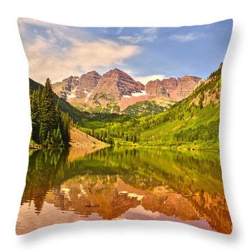 Maroon Bells Summer Throw Pillow