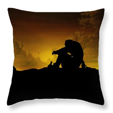 Marooned Pirate Throw Pillow