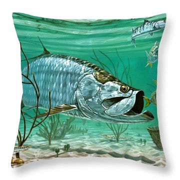 Marquesas Keys Tarpon Throw Pillow