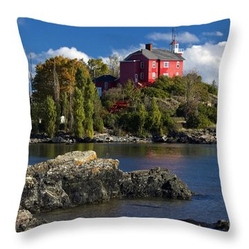 Marquette Harbor Light - D003224 Throw Pillow