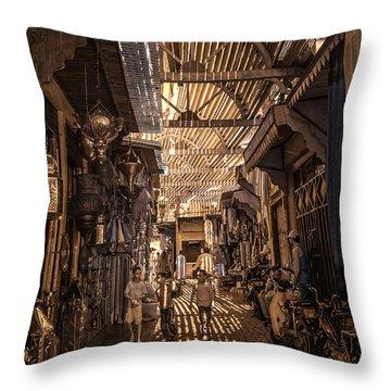 Marrakech Souk With Children Throw Pillow